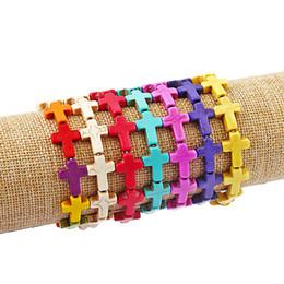 12pcs bracelet extensible rouge turquoise croix perles élastiques bijoux de chaîne ? partir de fabricateur