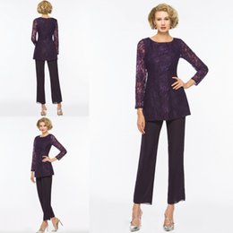 Wholesale Cheap Winter Outfits - Purple Mother Of The Bride Pant Suits For Weddings Two Pieces Lace Appliqued Long Sleeve Mothers Formal Wear Outfit Cheap Garment