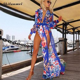 2019 xxl sundresses Bohemian summer beach dress sexy v pescoço impressão maxi dress para as mulheres jurkjes chiffon cardigan longo envoltório vestidos vestido de verão xxl xxl sundresses barato