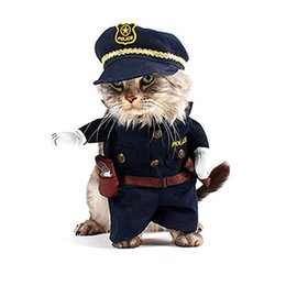funny easter hats Promo Codes - 2Pcs set Halloween Pet Costume Policeman Style Dog Jeans Clothes + Hat High Quality Small Cat Funny Apperal Kitty Cos Police Clothe S M L XL