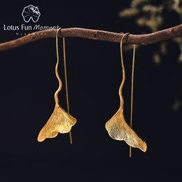 brincos de prata real Desconto Lotus Momento Divertido Real 925 Sterling Silver Longos Oscila Brincos Moda Jóias Vintage Ginkgo Folha De Ouro Brincos para As Mulheres