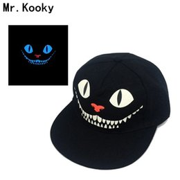 Wholesale Cat Snapback - Mr.Kooky Luminous Hip-hop Cap Men Women Baseball Noctilucent Gorras Glow in the Dark Devil Cheshire Cat Blacklight Snapback Hats