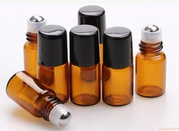 Wholesale Small Perfume Roller Bottles - free shipping 2000pcs lot Empty Mini 2ml Amber Roll on Glass Bottles Essential Oil Liquid Perfume Bottle With Metal Roller Ball Small Sample