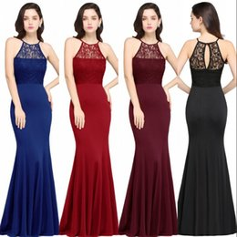 Wholesale designer evening wear - 2018 Cheap Royal Blue Burgundy Black Lace Mermaid Evening Dresses Formal Sleeveless Long Bridesmaid Dress Prom Gowns Mother Wear CPS617