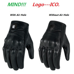 Wholesale Perforated Leather Gloves - Moto Racing Gloves Leather motorcycle glove cycling gloves Perforated Leather Motorcycle Gloves black color M L XL size