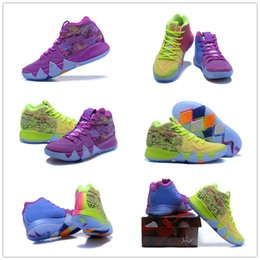 Wholesale Men Multicolor Shoes - 2018 What the Kyrie Irving 4 Multicolor Basketball Shoes for High quality Mens Kyrie4 4s Purple Fluorescent Green Sports Sneakers Size 40-46