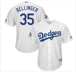 Wholesale Los Dodgers - Custom Los Angeles Dodgers Cody Bellinger Majestic White 2018 World Series Bound Cool Base Player Jersey Sports Throwback mlb Cheap Jerseys