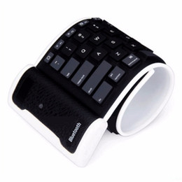 Wholesale Ipad Mini Keyboards - Flexible English Verson Silicone Wireless Bluetooth Keyboard Mini Keyboard with USB Charging Cable Universal For PC Laptop iPad