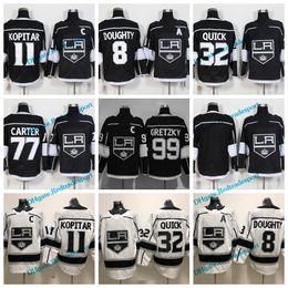 Wholesale Black White Drawing - 2018 Los Angeles Kings Hockey Jerseys 11 Anze Kopitar 32 Jonathan Quick 8 Drew Doughty 77 Jeff Carter 99 Wayne Gretzky Stitched Black Jersey