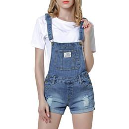 3a2364368e1 2018 New Summer Frazzle Denim Shorts Women Slim Strap Denim Overalls Jeans  Pocket Fashion College Wind Women Shorts