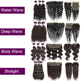 Wholesale human body ears - Brazilian Virgin Hair Straight Body Deep Water Wave Kinly Curly Human Hair Extensions Weft Bundles With Lace Closure Or Frontal Ear To Ear