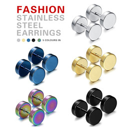 fake ear studs Australia - Men women earrings Varied-color Fake Ear Plugs Gothic Barbell Stud Earring 1Pcs Punk Double Sided Round Titanium Steel Earrings