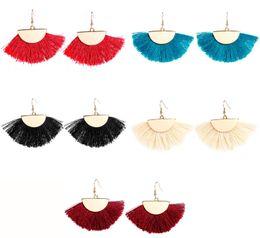 Опоры для пластин онлайн-Boho сплава кисточки мотаться серьги позолоченный сектор бахрома серьги крюк 5 цветов для женщин девушки ювелирные изделия поддержка FBA Drop Shipping H421R