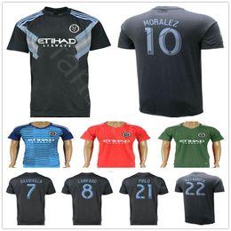 Wholesale man city soccer jerseys - 18 19 New York City Soccer Jersey 7 DAVID VILLA 8 LAMPARD 10 MORALEZ 22 MATARRITA 21 PIRLO Home Blue Custom Football Shirt