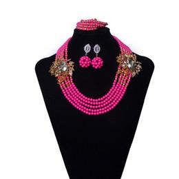 nachahmung kostüm schmuck Rabatt Nachahmung Kristall Dubai Braut Kostüm Schmuck Afrikanische Perlen Schmuck Set Halskette Rosa Frauen Nigerianischen Set schmuck Kostenloser Versand