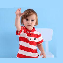 Wholesale Korean Polo Shirts - new summer children's clothing t-shirt Korean baby shirt striped boys lapel polo shirt short-sleeved children's t-shirt