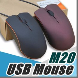 Wholesale notebook usb - Lenovo M20 USB Optical Mouse Mini 3D Wired Gaming Manufacturer Mice With Retail Box For Computer Laptop Notebook C-SJ