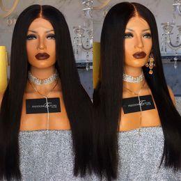волосы волны волны китайского взрыва Скидка 150% плотность полный парики шнурка для чернокожих женщин 8-26 дюймов шелковистые прямые Glueless полные парики человеческих волос шнурка детские волосы