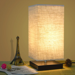 Wholesale Classical Study Table - Simple Table Lamp Bedside Desk Lamp With Fabric Shade and Solid Wood for Bedroom, Living Room, Baby Room, College Dorm, Coffee Table(square)