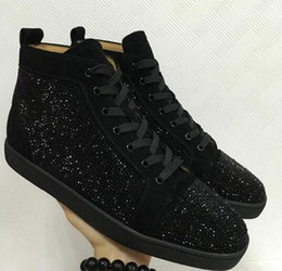 Pedrería negro plano online-2018 Nueva Oferta Especial Suede Black Rhinestone Strass Red Bottom Shoes Hombres Mujeres Flat Red Sole Zapatos High-Top Sneaker Lace-up Casual Shoe