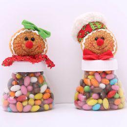 Wholesale Gingerbread Man Wholesale - Hot Cute Christmas Candy Storage Box Jar Bottle Gingerbread Man Xmas Home Organization Decoration Sugar Bottles Case Decor
