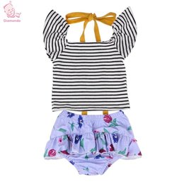 2642dfcc50 2pcs Summer Baby Girls Clothes Set Stripe Tops Floral Ruffle Shorts Briefs  Beach Bathing Suit Two Pieces Swimwear Infantil Suits