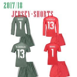 Wholesale Jersey Pant Kit - 17 18 Real madrid Goalkeeper soccer Jerseys Long sleeve NAVAS 1 K.CASILLA kits jersey and shorts pant red CAMISETA DE FUTBOL