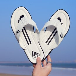Wholesale boys plaid summer - Summer Top grade leather designer slippers Comfortable Slippers Boy Mixed Colors Stripes Indoor Flip-flops Outdoor Beach Flip-flops Sandals