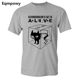 teoría al por mayor Rebajas Al por mayor-Eqmpowy 2017 The Big Bang Theory camiseta Sheldon Cooper Schrodinger 's Cat T shirt Hombres Cartoon Anime Print Shirts