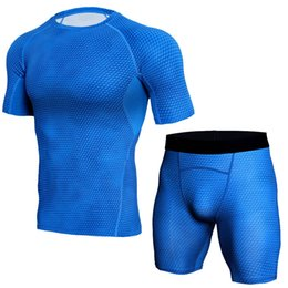 Wholesale Mens Short Yoga - 2018 Mens Sports Running Set Compression T-Shirt + Pants Skin-Tight short Sleeves Fitness Training Clothes Gym Yoga Suits