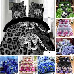 Wholesale Leopard Print Duvets - 4pcs Bedding Set 100% Polyester 3D Animal Leopard Rose Panda Heart Bedding Bed Sheet Set Bedclothes Duvet Cover Sets
