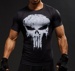 Wholesale Men Fitness Apparel - 2018 Men T-Shirt Sports Wear Marvel Hero 3D Punisher Skull Fitness Sport Shirt Outdoor Apparel Gym Clothing S-3XL