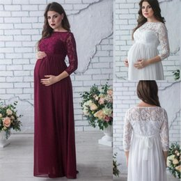 2c44ca332 Nueva venta caliente vestido de maternidad apoyos de la fotografía desgaste  del embarazo elegante partido de encaje vestido de noche ropa de maternidad  para ...