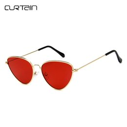 Wholesale Red Orange Curtains - Curtain Ladies Classic Pink Red Reflective Cat Eye Sunglasses Women Men Retro Metal Frame Mirror Sun Glasses For Female S17011