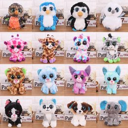 2019 juguetes de peluche de pie Ty Beanie Boos Toy Doll Baby Girl Regalo de cumpleaños 15cm Big Eyes Stuffed Animal Doll Unicorn Owl Leopard Elephant Huskey c689