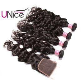 Wholesale Unprocessed Indian Lace Closure - UNice Hair Virgin Brazilian Natural Wave Bundles With Lace Closure Free Part Human Hair Extensions Remy Hair Weave With Closures Unprocessed