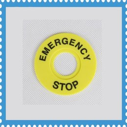 Wholesale Emergency Sign - 100pcs 22mm Emergency Stop Warning Ring Plastic Sign Push Button Switch Panel Label Frame outer diameter 60mm