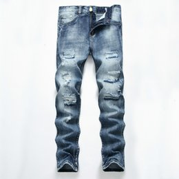 2018 Nuovi jeans diritti Jeans strappati da uomo Pantaloni Slim Fit Blu chiaro Denim Hole Maschio lavato pantaloni distrutti Fidanzato