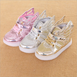 Wholesale Kids Shoe Wings Wholesale - Vieeoease Kids LED Shoes 2018 Spring Boys Girls Bling Wing Shoes Europe and America Fashion LED Shoes HX-712