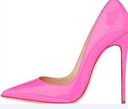 Argentina Envío gratis tan Kate estilos 8 cm 10 cm 12 cm zapatos de tacones altos Red Bottom Nude color cuero genuino punta de punta bombas zapatos de goma de la boda Suministro