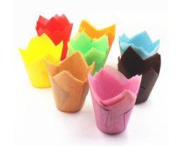 Muffin decoração molde on-line-Novo Bar 200 pcs pacote de Bolo De Papel Ferramenta de Decoração Molde Tulipa Flor De Chocolate Cupcake Wrapper Assar Muffin Papel Liner Descartável SN2139
