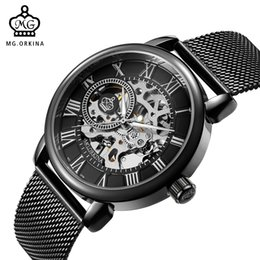 Wholesale mechanical skeleton clock - Wholesale-ORKINA Male Wristwatch Skeleton Dial Mechanical hand-wind Clock Men's Wrist Watches Stainless Steel Mesh Band Relogio Masculino