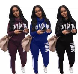 Wholesale Ladies Piece Jogging Suits - S-3XL Woman Sportswear Letter PINK Print Sweatshirt + Pants Two-piece Set Women Jogging Sport Suit for Ladies Leisure Tracksuit Sweatsuit