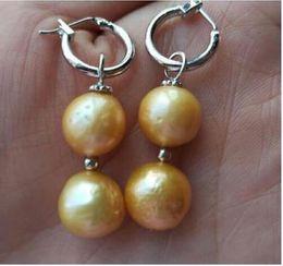 2019 swing bianco gioielli di perle nuovo 11-12mm Barocco Golden Sea South Pearl Orecchini 14K Orecchini in oro bianco altalena sconti swing bianco