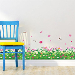Wholesale grass decals - Wholesale- DIY wall stickers home decor Nature Colorful Flowers Grass dragonfly stickers muraux 3d Wall Decals floral pegatinas de pared