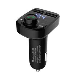 Neue bluetooth freisprecheinrichtung mp3 online-Car Kit Bluetooth FM Transmitter Auto MP3 Audio Player FM Modulator Freisprecheinrichtung LCD Display Dual USB Ladegerät für Smartphone Neu