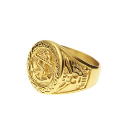 Wholesale Mens Anchor Rings - Hip Hop Rock Gold Color Plated 316L Stainless Steel Anchor Ring Luxury Gold Rings Vintage Mens Jewelry Ring