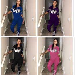 Wholesale leggings knit - Pink Letter Women Spring Outfits Women Tracksuit Fish Scales Letter Splicing T-shirt Leggings 2pcs Set Short Sleeve Tops Jogger Suit S-3XL