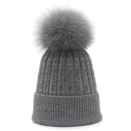 Wholesale Real White Fox Hat - ROSELUOSI Real Fox Fur Pom Poms Beanies For Women Autumn Winter Wool Knitted Hats Ladies Thick Warm Skullies Female Gorras
