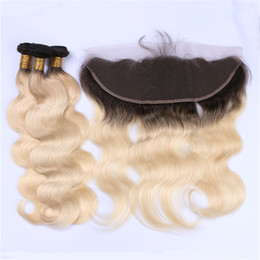 Wholesale two color frontal closure - Two Tone 1B 613 Blonde Ombre Brazilian Body Wave Virgin Hair Weave 3 Bundles with Lace Frontal Closure Platinum Blonde Dark Roots Hair